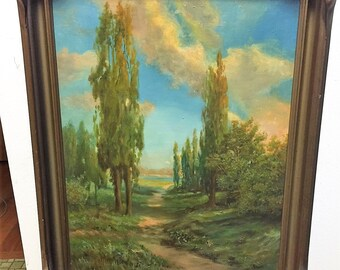 Stunning Arts and Crafts Landscape Oil on Canvas by AUGUST RIEGER (1886-1941)