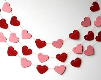 Heart garland, Red pink heart garland, Valentine decor, Valentines day decor, Paper garland, Wedding decoration, KCO-3050