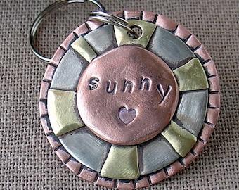 Medium Dog ID tag- metal pet id tag with Sun- Sunny