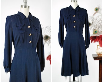 Vintage 1940s Dress -  Quintessential Navy Blue Rayon Crepe Dress with 1940 Patent Date, Clever Pockets and Fantastic Buttons