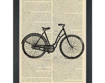 Retro bicycle Dictionary Art Print
