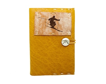 Small Leather Journal with Skier in Honey Ginger
