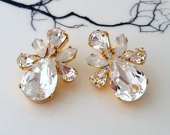 Clystal earrings,White opal earrings,Crystal bridal earrings,Bridesmaids gift,Swarovski earrings,Bridal earrings,Wedding jewelry,Wedding