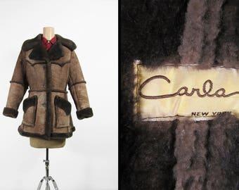 Vintage Shearling Coat Dark Brown Wool Long Sheepskin Leather - Women's Medium
