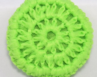 Neon Pot scrubber, Nylon tulle scrubbies, crocheted scrubbies, kitchen scouring pads, pot scrubbers, scrub pads, handmade pot scrubbers