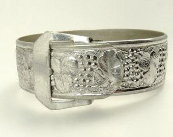 Vintage Chrome Buckle Bracelet Grapevine Bangle Bracelet