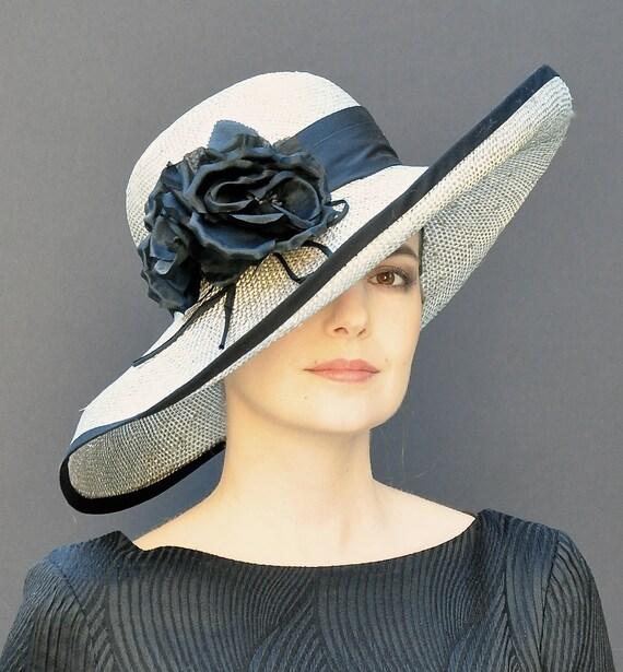 Ascot Hat, Wedding Hat, Wide Brim Hat, Derby Hat, Taupe and Black Hat