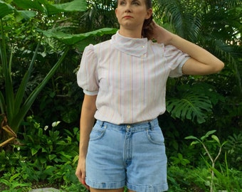 Vintage Jean Shorts / High Waisted Cuffed Jeans  / Small
