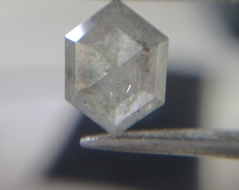 1.58 ct. Huge Natural Icy Gray Hexagon Geometric Diamond A2