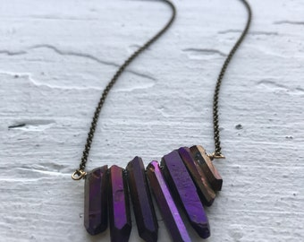 Electric violet raw quartz alchemy necklace
