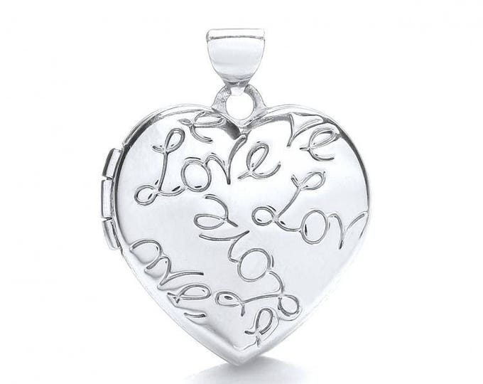 9ct White Gold Love Engraved Heart Shaped 2 Photo Locket 18x18mm