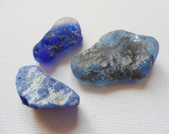 3 mixed blue bonfire English sea glass - North east England