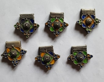 """Morocco - """"Boghdad"""" cross in silver, enamelled for necklace"""