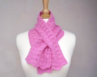 Bubblegum Pink Keyhole Scarf, Pull Through Scarf, 100% Cashmere, Hand Knit Neck Scarf, Bow Scarflette, Womens Scarf