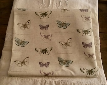 Fabric patterns butterflies / 46 X 50 cm / linen colored background