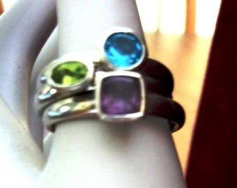Set  3 Sterling Silver Gemstones Stacking Rings AMethyst, Peridot, Blue topaz  sz 9