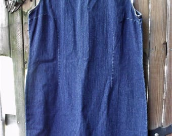 Denim Dress/ Denim Jumper/ Embroidered Denim/ Farmhouse Chic/Junk Gypsy/ Thrifted Funwear/ Plus Size Denim/ Shabbyfab Thrift