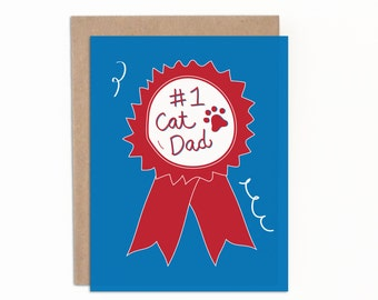 Father's Day Card, Cat Dad, Number One Cat Dad, Everyday Greeting Card, Just Because,  Funny Father's Day Card, Cat Dad Card, Hand Lettered