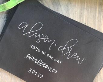 Hand lettered black envelope