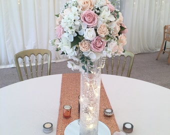 Artificial blush, vintage pink, champagne and Ivory Table Centre Tall- Roses and hydrangea Flower centrepiece  Wedding Venue flowers