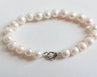 White Freshwater Pearl Bracelet - Bridesmaid Gift, Wedding Jewelry, Birthday Gift