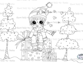 INSTANT DOWNLOAD Digi Stamps Big Eye Big Head Dolls Digi Bestie IMG127 By Sherri Baldy