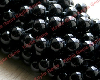 2 Strands 10mm Round Black Glass Beads 16 inches