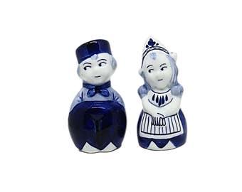 Delft Blue Salt  Pepper Set, Delft Ceramic Little Dutch Boy and Girl Figures