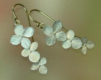 Hydrangea Flower Earrings, Botanical Earrings, Dangle Earrings, Silver Drop Earrings, Sterling, 14k Gold, Made to order