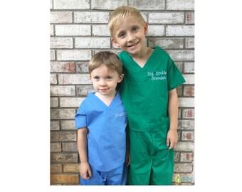 Monogrammed Kids' Scrubs, Child's Scrub Set, Baby Scrubs, Toddler Scrubs, Doctor or Nurse Scrubs, Big Brother Outfit, Big Sister Outfit