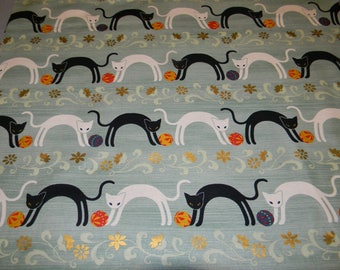 One Half Yard of Cotton Fabric Featuring Quilt Gate Cats
