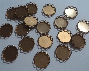 10mm brass round closed back lace edge cup settings 18 pieces lot l X N