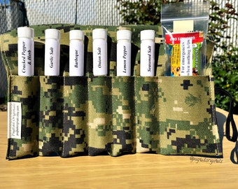 US Navy Deployment Custom Gift, USN Sailor Gift, Boot Camp, Going Away, Care Package.  Newest Navy Camo. Spices in a unique roll up kit