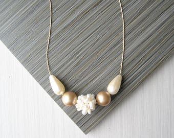Ivory Pearl Necklace, Bridal Jewelry Wedding Accessory, Gold, Modern, Cluster,  Sterling Silver, Freshwater, June Birthstone, Vintage Beads