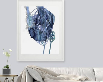 Blue art print, Abstract art, giclee art, Abstract Watercolor Giclee Print, Fine Art Print, Watercolor print, large print