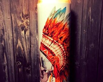 native american art, Indian headdress art, tribal art, tribal artwork, Watercolor Print, southwest art, Southwest Decor, Desert Art, Candle