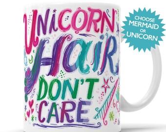 Unicorn Mug, Unicorn Gift, Cosmetologist Gift, Mermaid Hair, Rainbow Hair, Unicorn Hair Mug, Unicorn Hair, Mermaid Hair, Hair Dresser Gift