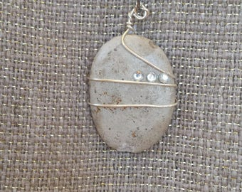 Untumbled natural flat stone necklace with a bit of wire and bling