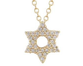 Star Of David Necklace, Magen David Necklace, Diamond Star Of David, Jewish Star Necklace, Bat Mitzvah Gift, Jewish Jewelry, Judaica