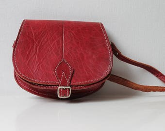 Small Crossbody Bag, Red Minimalist Purse, Vintage Genuine Leather