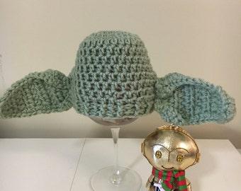 Yoda inspired baby hat, Yoda hats, boy Yoda hats, Star Wars hats, ready made Yoda baby hat, newborn Yoda hats, newborn Star Wars, Yoda hats