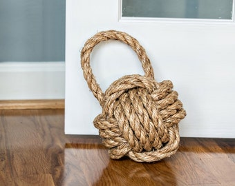 Lightweight Door Stop / Rope Knot with Handle / cotton or manila