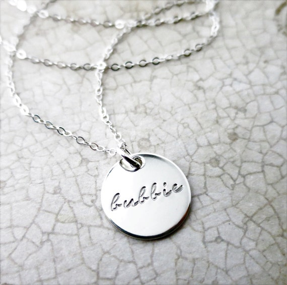 Bubbie Necklace - Sterling Silver Bubbe Jewelry - Gift for Grandma - Jewish Grandmother - Jewish Woman - Bubbie Jewelry - Hand Stamped