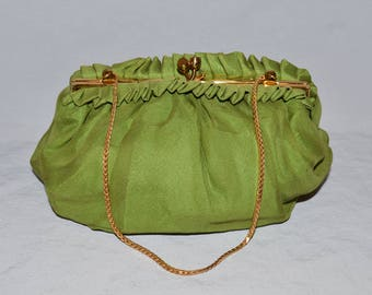 Vintage Purse or Handbag - Green Silk Crepe, Gold Frame and Chain, LH Made in Belgium, 1940s?