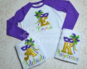 Mardi Gras Shirt! Girls Mardi Gras Raglan! Monogram Mardi Gras Shirt! Fat Tuesday Shirt! Personalized Mardi Gras, Mardi Gras with name!