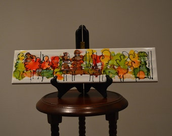 Alcohol Ink Tile Art with Wooden Easel Stand