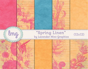 "Spring Digital Papers - ""Spring Linen"" - Vintage, Shabby Chic, Scrapbooking, Invitations, Cards, Junk Journal Paper, Instant Download, CU"