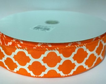 1.5 Inch Orange White Wired Ribbon TR21309-73, Quatrefoil, 5 Yards or 10 Yard Lengths Available