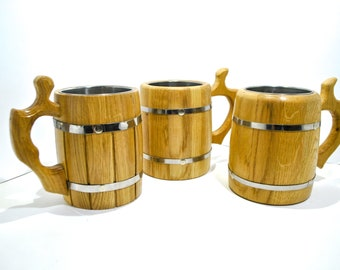 Set of 3 Wooden Heavy Oak Mugs for Beer with Metal Insert, Tankard Beer mug, Wooden Beer Cup, FREE SHIPPING