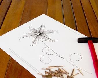 "String art pattern ""The Lily""   Flower string art   String art DIY   String art template"